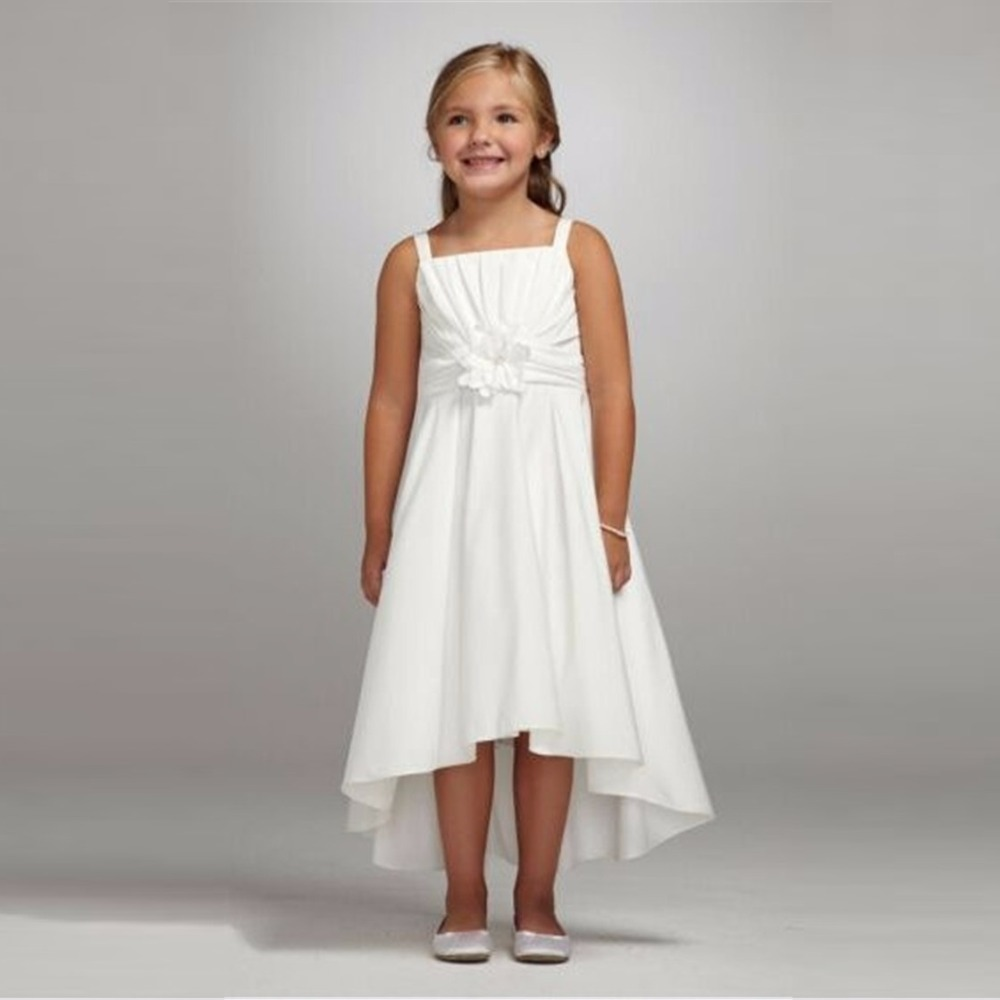 White Satin Flower Girl Dress Pageant Dresses Confirmation Dresses