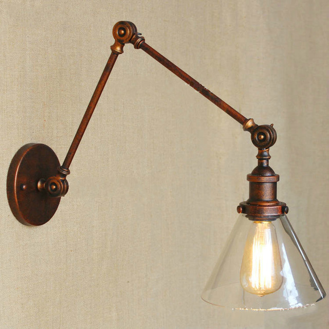 Retro Two Swing Arm Wall Lamp Sconces Gl Shade Baking Finish Rh Restoration Light Fixture