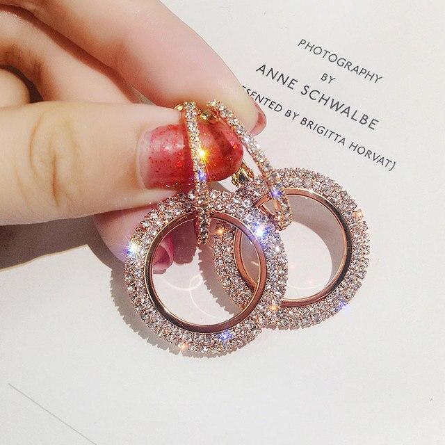 USTAR גבישים אלגנטיים עגול זרוק עגילים לנשים גיאומטרי חתונה להתנדנד עגילי נקבה תכשיטים תליית Oorbellen
