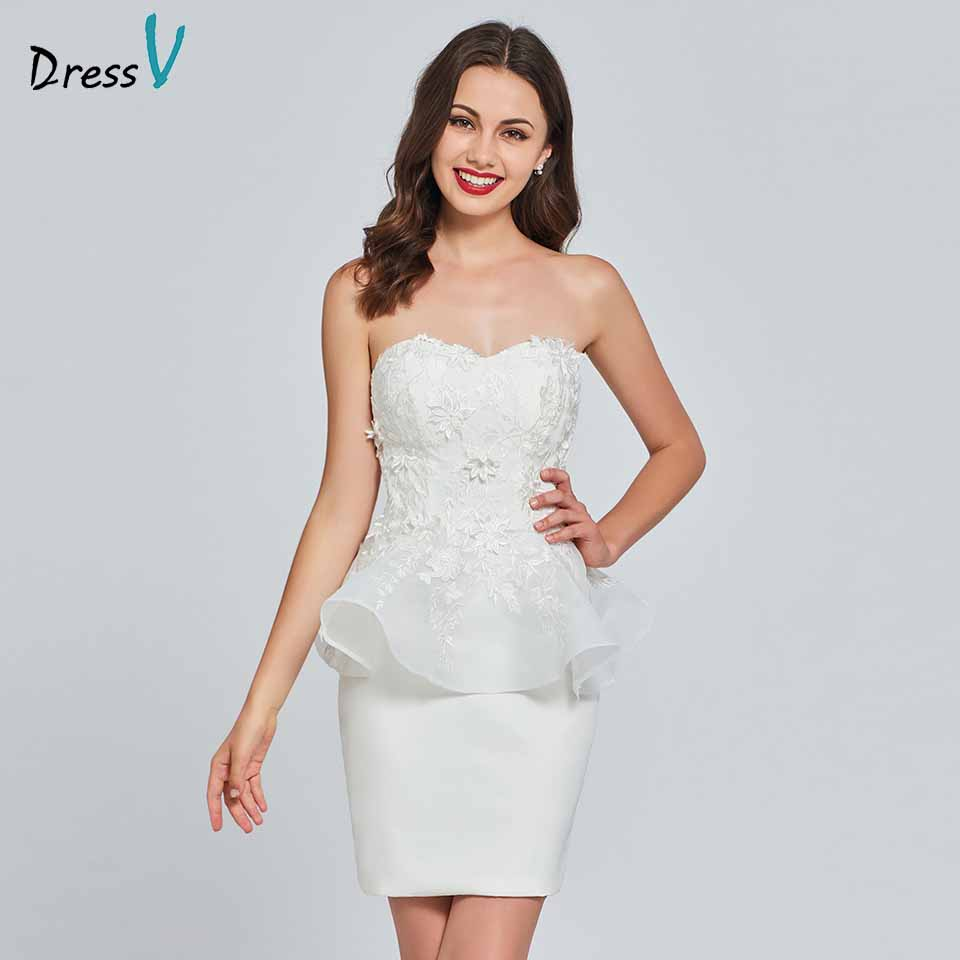 Dressv ivory   cocktail     dress   elegant strapless sheath sleeveless appliques zipper up wedding party formal   dress     cocktail     dresses