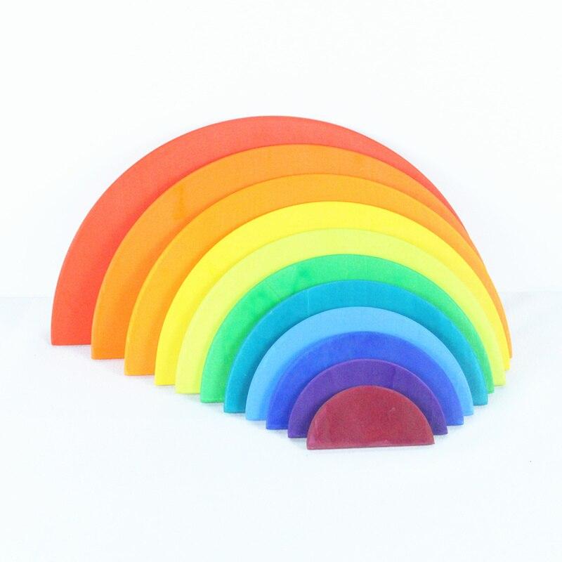 11 pièces demi-cercle arc-en-ciel blocs jouets en bois pour enfants correspondant avec 12 pièces grands blocs arc-en-ciel construction armoires de rangement cadeau