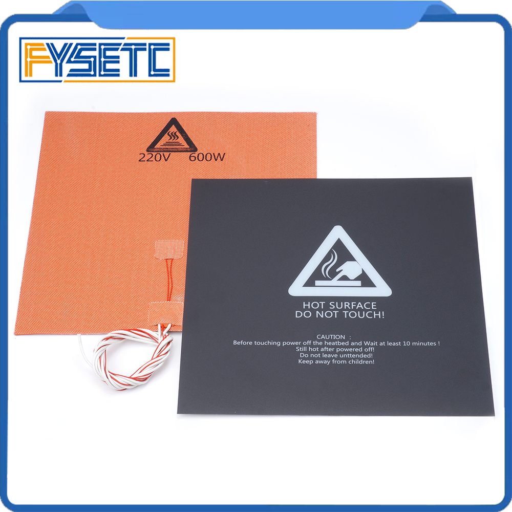 Silicone Heater Pad 300X300mm 220V 600W Heater +300*300mm Black Frosted Sticker Build Sheet Plate For TEVO Tornado Lulzbot Taz6 200 300mm 220v 300w for computer aided equipment control box moisture and dehumidification aluminium plate silicone heater