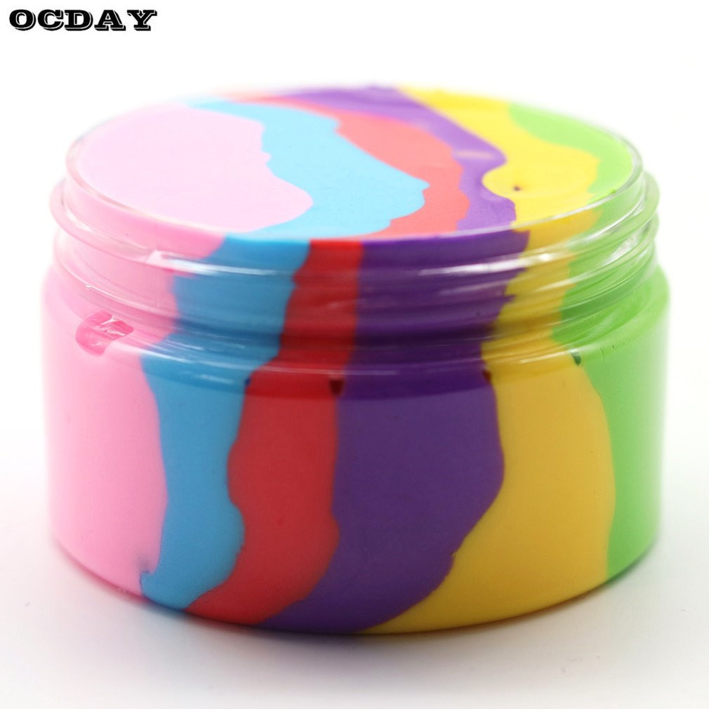 OCDAY 6 Color Rainbow Fluffy Clay Slime Plasticine Stress Relief Toy Light Clay Air Dry DIY Soft слайм Creative Christma Gifts