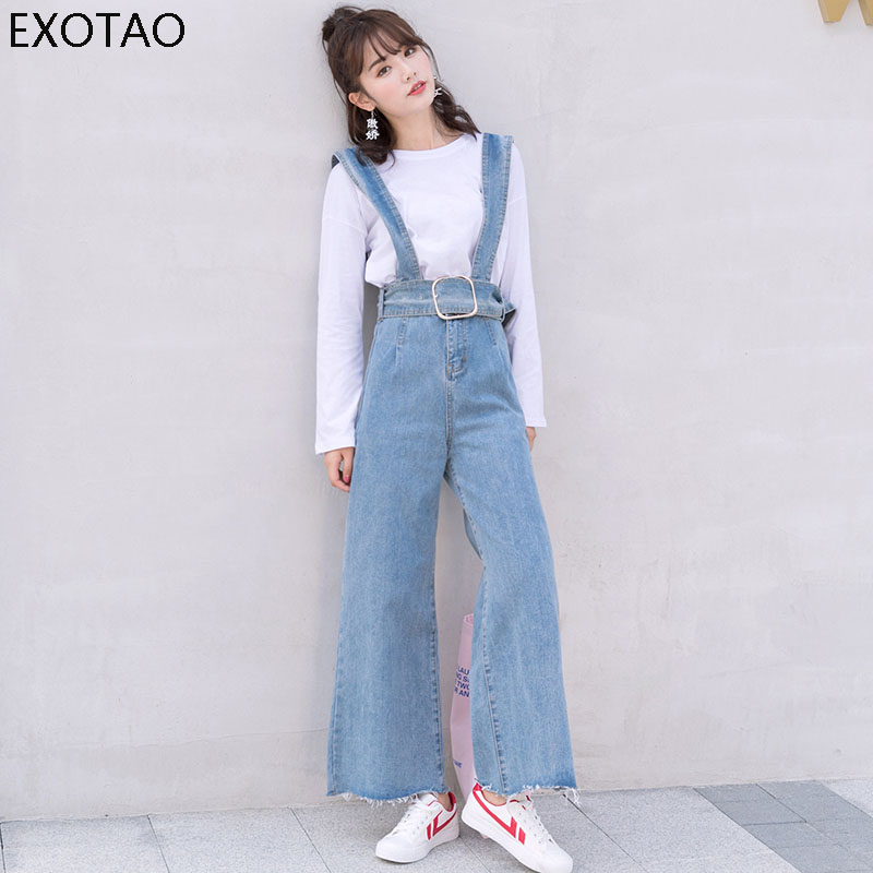 EXOTAO Overalls Jeans Women Wide Leg Sashes Casual Vintage Flare Denim Pants Femme 2017 Fashion High Waist Slim Jeans Feminino high waist ripped jeans women jumpsuit 2017 new fashion denim overalls pants casual vintage straight pants jeans femme plus size