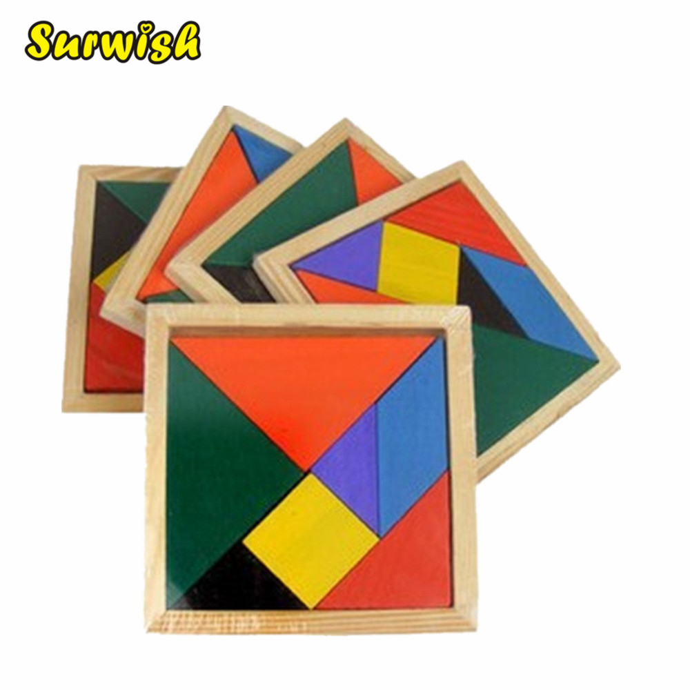 цена Surwish Wooden Tangram 7 Piece Jigsaw Puzzle Colorful Square IQ Game Brain Teaser Intelligent Educational Toys for Kids