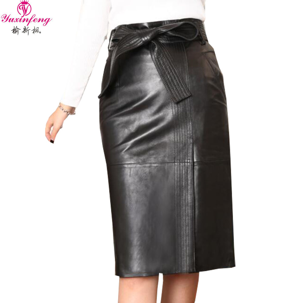 Yuxinfeng S 4XL Women High Waist PU Leather Skirt Plus Size Spring Autumn Elegant Faux Leather