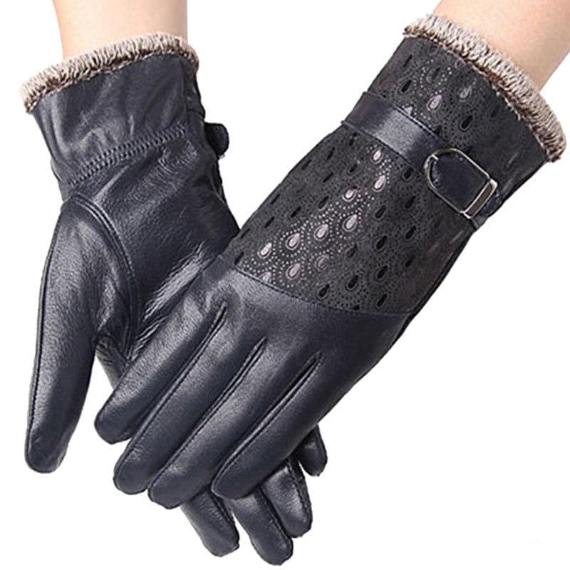 Dámské zimní rukavice Módní teplé Thicken Dot Pattern Págové kožené rukavice Kvalitní rukavice