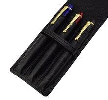 Leather Pencil Case Washed Cowhide Pen Case / Bag for 3 Pens , Black Pen Holder / Pouch High Quality for Men & Women