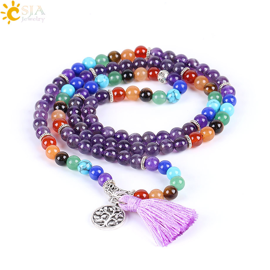 CSJA Reiki Naturale 7 Chakra Multi-strato di Yoga Pendenti e Ciondoli Braccialetti Delle Donne Viola Del Quarzo 108 Beads Mala Meditazione Guarigione Nappa e655