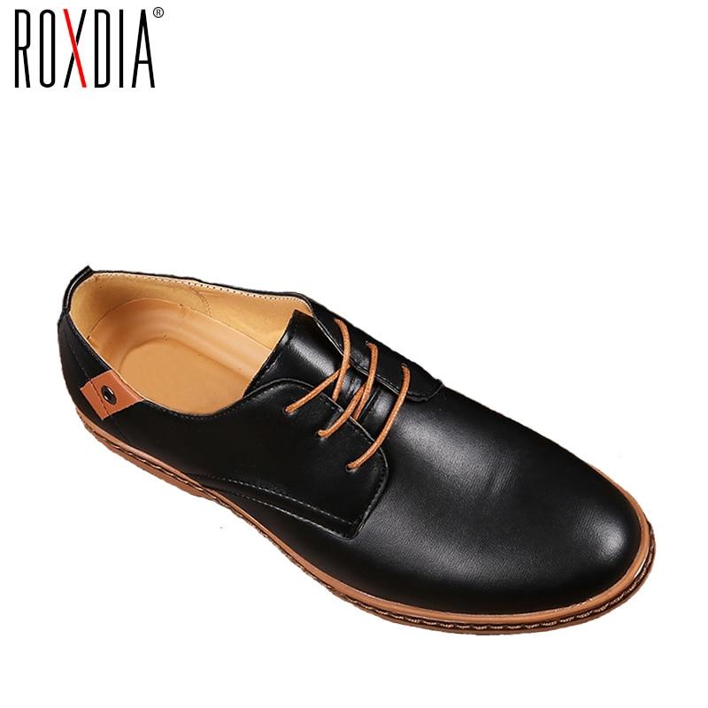ROXDIA New Fashion Spring Autumn Men Flats Lace-up Casual Waterproof Shoes Work Flat Driver Men's Shoe Plus Size 39-48 RXM936