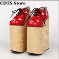 CDTS: 34-44 Crossdresser/Cosplay Único 2016 lolita Punta Redonda zapatos de las mujeres 22 cm de ultra tacones altos Cuñas de plataforma Goth punk bombas