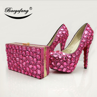 Woman New Wedding shoes with matching bags fuschia Crystal Ladies Luxury Wedding shoes Bride High heel Platform shoes and bags