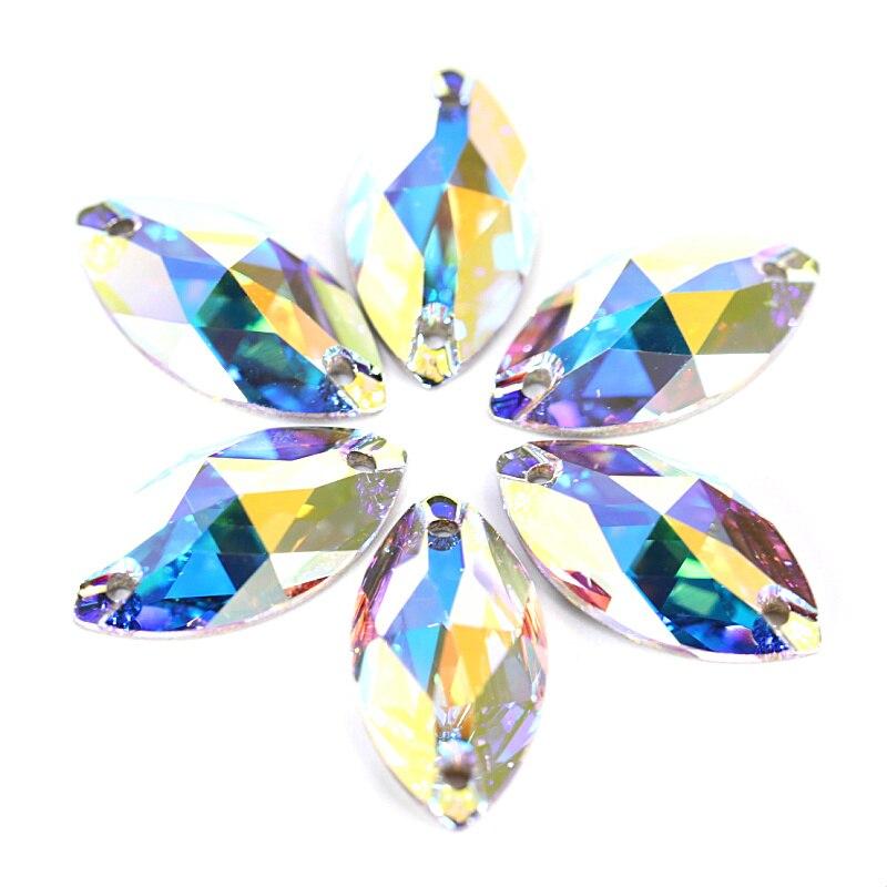 Best Quality Navette Shape Glass Sew On Rhinestone Horse Eye Flatback Crystal AB Sewing Rhinestones For Wedding Dress F0053