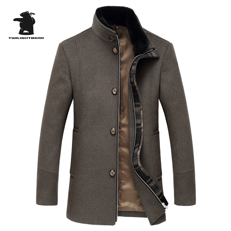 Brand Mens Long Single Breasted Woolen Coats Winter Thicken Male Wool Jackets Fur Collar ...