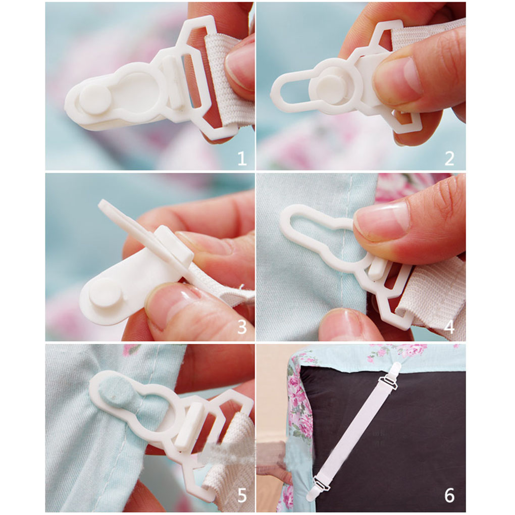4Pc Bed Sheet Mattress Cover Blankets Grippers Clip Holder Elastic Set Hot Sale