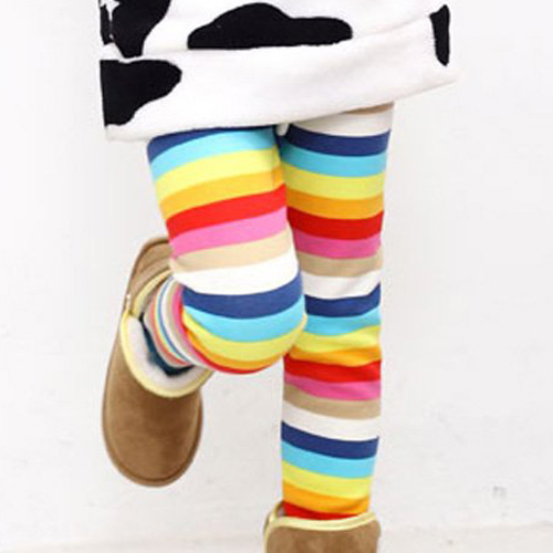Cálido otoño invierno polainas de arco iris Correa impresión chica  pantalones de los niños ropa de niña 3-7yrs niñas Pantalones 9ad8f3e090e