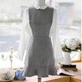 Осень женщин новые длинными рукавами плед кукла воротник повседневная мода рыбий хвост пакет хип Тонкий платье для девочек