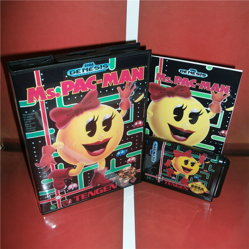 Ms.Pac-Man US Cover with box and manual For Sega Megadrive Genesis Video Game Console 16 bit MD card