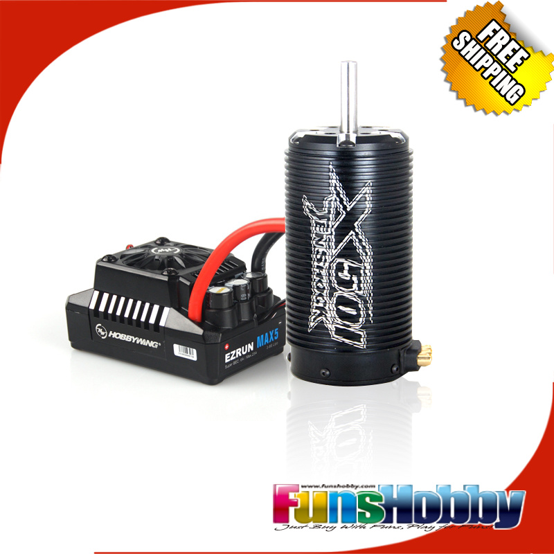1/5 Power ComboTenshock TS-X501 8 Pole Micro Electric Rc Cars Brushless Motor & Hobbywing Max5 200A MCD Losi 5IVE tenshock x802l v2 1 8 6 pole electric micro brushless dc motor for off road truggy traxxxas rc cars free shipping
