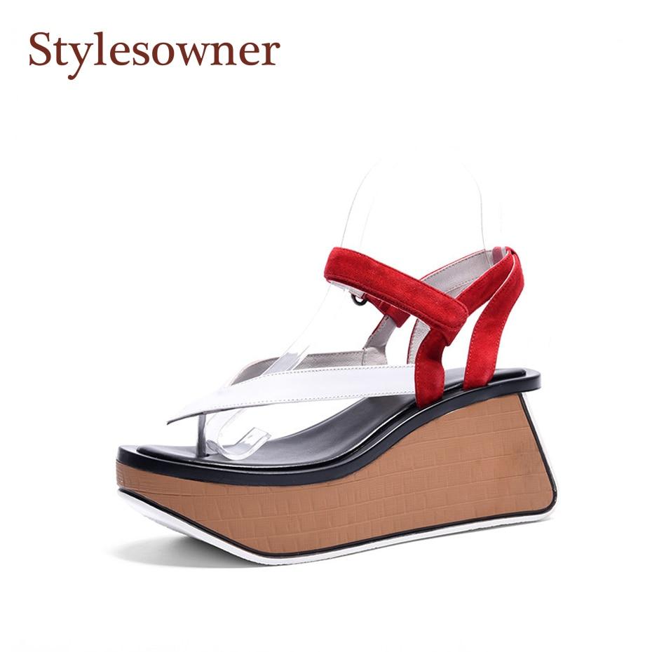Stylesowner Color Match Woman Flip Flop Sandal Shoe High Heel Wedge Platform Vintage Gladiator Sandal Thick Platform Sandalias рубашка greg greg mp002xm0w4ni