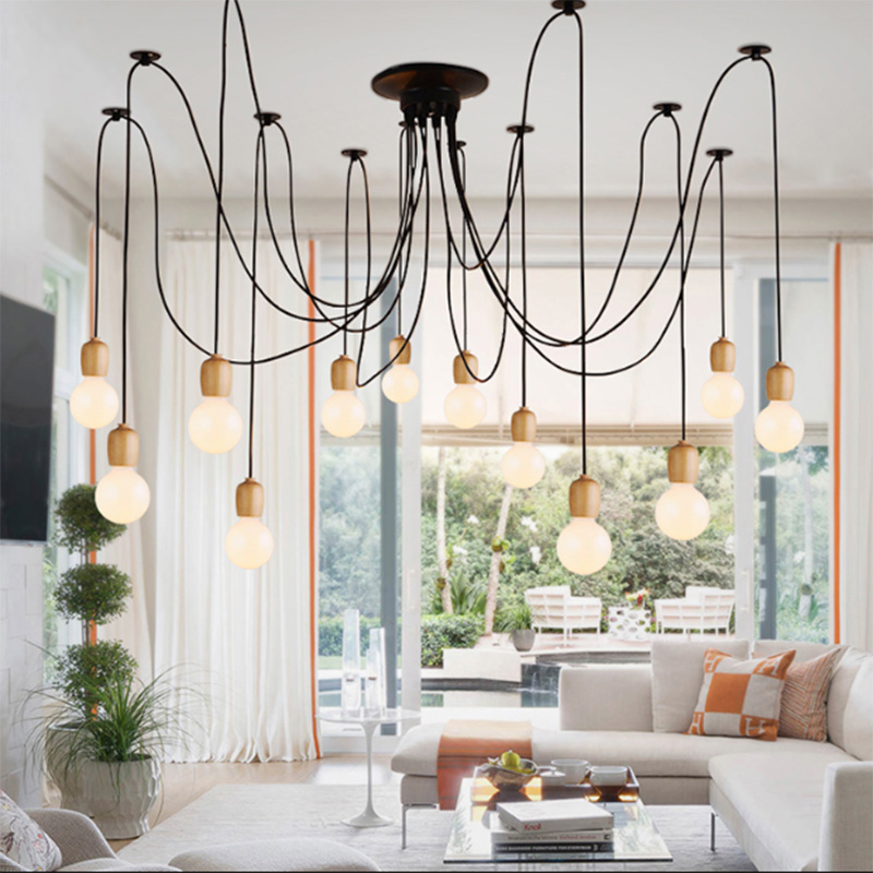 Vintage Spider Iron Cage Pendant Lamp E27 Lamp Holder 110 240V 3/5/6/8/10 Head for Dining Hall Club Living Room Bar Pendant Lights     - title=