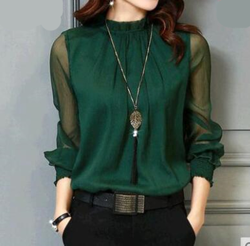 Chiffon Blouse New Women Tops Long Sleeve Stand Neck Work Wear Shirts Elegant Lady Casual Blouses women's blusas Plus size(China)