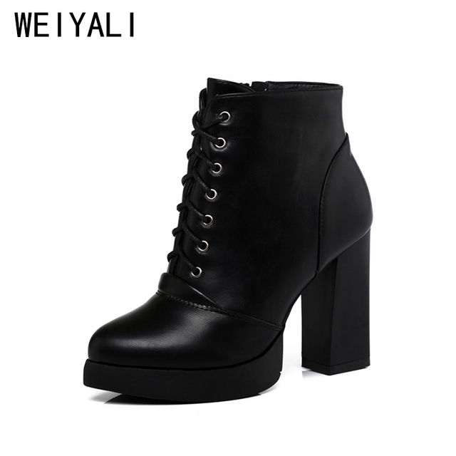 2018 Classic Women Boots Platform High Heels Winter Boots High Quality Lace- Up Black Leather Ankle Boots Botas Femininas Inverno 1d71b2e11369