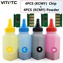 1 مجموعة رقاقة الحبر بودرة لجهاز Ricoh SPC250 SPC250DN SPC250SF SP C250 C250DN C250SF طابعة المعبأة في زجاجات مسحوق إعادة ملء الحبر إعادة تعيين رقائق