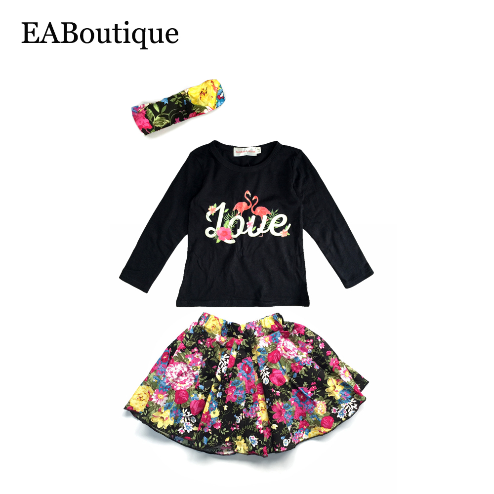 Eaboutique winter fashion floral flamingo pattern baby girls clothes set long sleeve shirt with Mla winter style fashion set