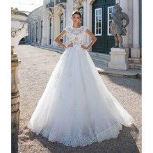 أماندا Novias جديد قبعة رياضة التنس للجنسين الأكمام الدانتيل فستان الزفاف مع قطار طويل 2019
