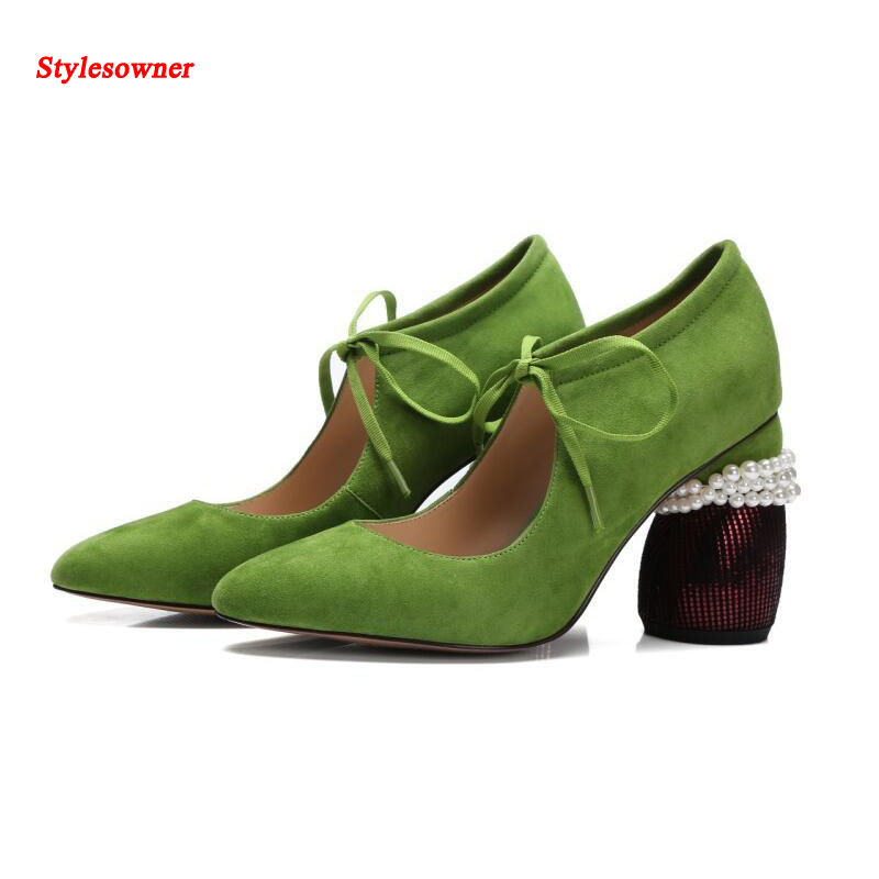 Stylesowner Suede High Heeled Women Shoes Gorgeous Chunky Heel Pearls Bowtie Pumps Shoes Shallow Cut Out Party Shoe Femininos purple platform super high heeled pumps shoes for woman ladies girl purple party dinner shoes ladies crystal pearls shoe tg784