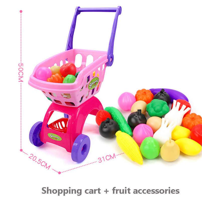 Anak-anak Supermarket Belanja Bahan Makanan Cart Trolley Mainan untuk Anak Perempuan Dapur Rumah Bermain Simulasi Buah Berpura-pura Mainan Bayi