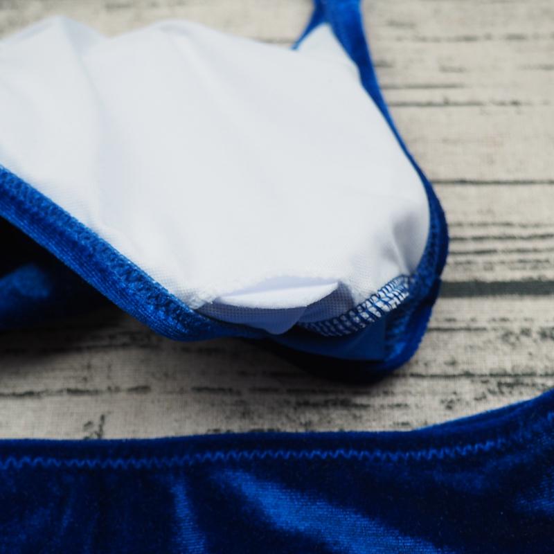 Sexy Brazilian Bikini 17 Blue Velvet Swimwear Women Swimsuit Push up Biquini Halter Bikinis Set Bathing Suit Maillot De Bain 10
