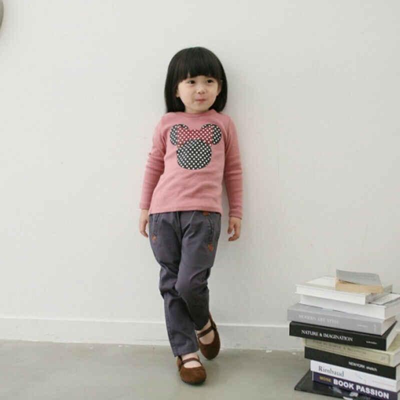 秋素敵なニューキッズファッション幼児服女の赤ちゃんポルカドット長袖ブルーピンクの漫画の綿のブラウストップス 2-7Y