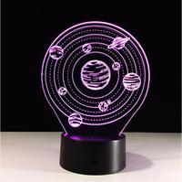 3D planeta visual lámpara de mesa LED calmante 3D Vision Illusion lámpara de escritorio 7 color cambiante 3D LED noche luz dropshipping