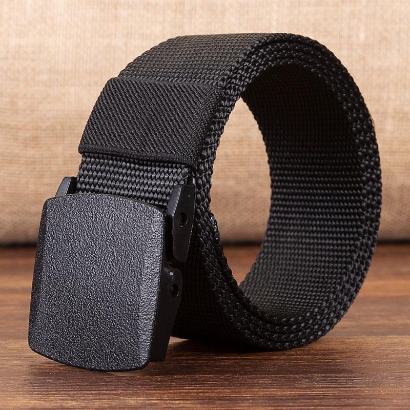 Военный мужской ремень, армейские ремни, регулируемый ремень для мужчин, для улицы, для путешествий, тактический поясной ремень с пластиковой пряжкой для брюк 120 см - Цвет: Black