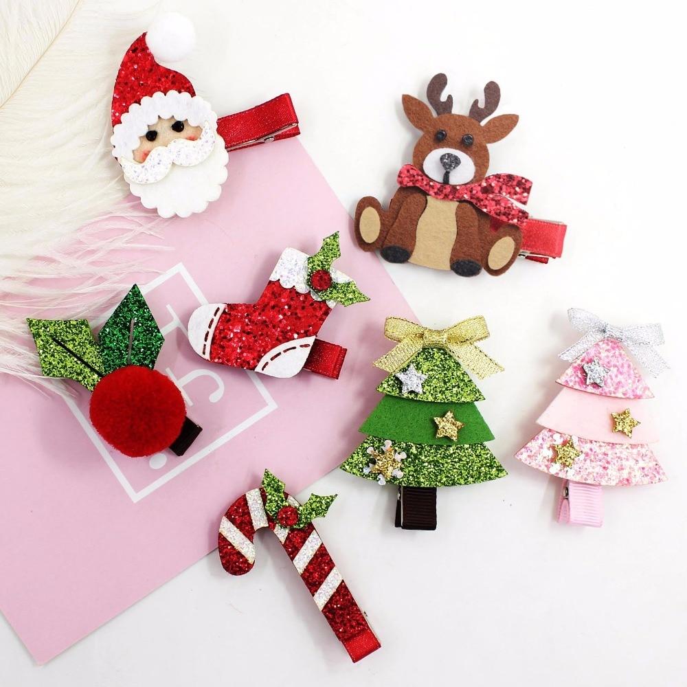 Boutique 40pcs Fashion Cute Glitter XMAS Hairpins Solid Felt Reindeer Santa Holly Leaf Candy Cane Tree Hair Clips Party Headwear