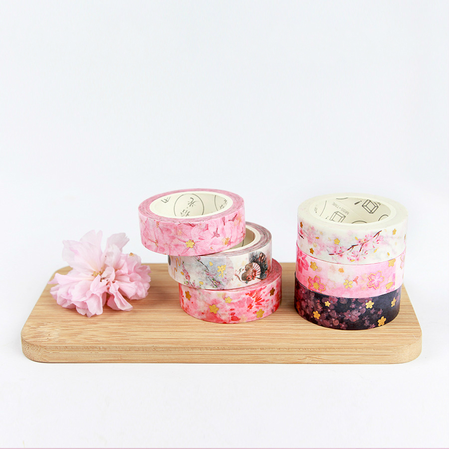 Gold Foil Washi Tape Romantic Cherry Blossom Sakura Diy Scrapbooking Masking Tapes Cute Japanese Stationery недорого
