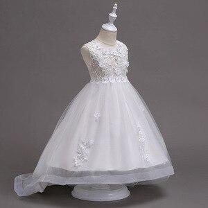 Image 5 - Rosa menina dama de honra casamento romântico vestido de festa elegante menina vestir se para participar da bola a refeição sagrada a cauda applique