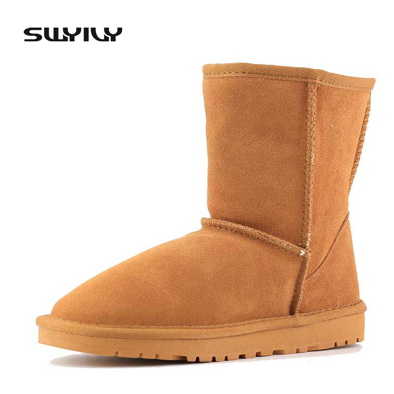Women Winter Boots Snow Boots Short Winter Ankle Boots Genuine Leather Shoes Plush Warm Botas Femininas Plus Size 40-45 2016 new arrival ankle boots for women fashion winter shoes warm plush snow boots shoe bowtie women boots polka dot botas mujer