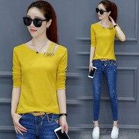 KJ284 Womens Long Sleeve Top Women Clothing Autumn Casual Tees Shirts Female Fashion Open Shoulder Slim
