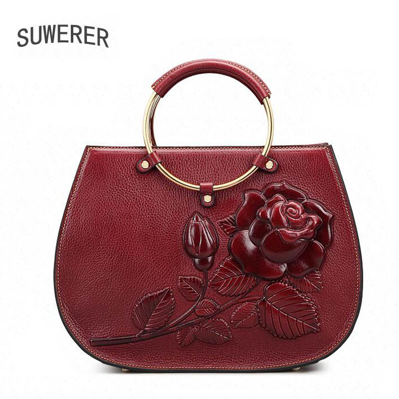 SUWERER Véritable Cuir femmes sacs pour femmes nouveau sacs à main de luxe femmes sacs concepteur d'embrayage sac D'épaule