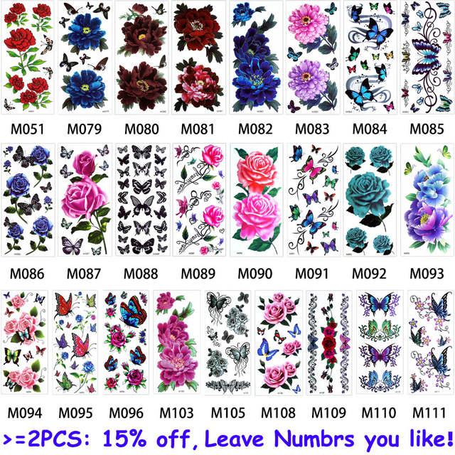 placeholder Glaryyears 1 Folha Rosa Flor Corpo Maquiagem Temporária  Tatuagem Colorido Desenho Borboleta Pulseira Cadeia Perna de 5589bf8fe2