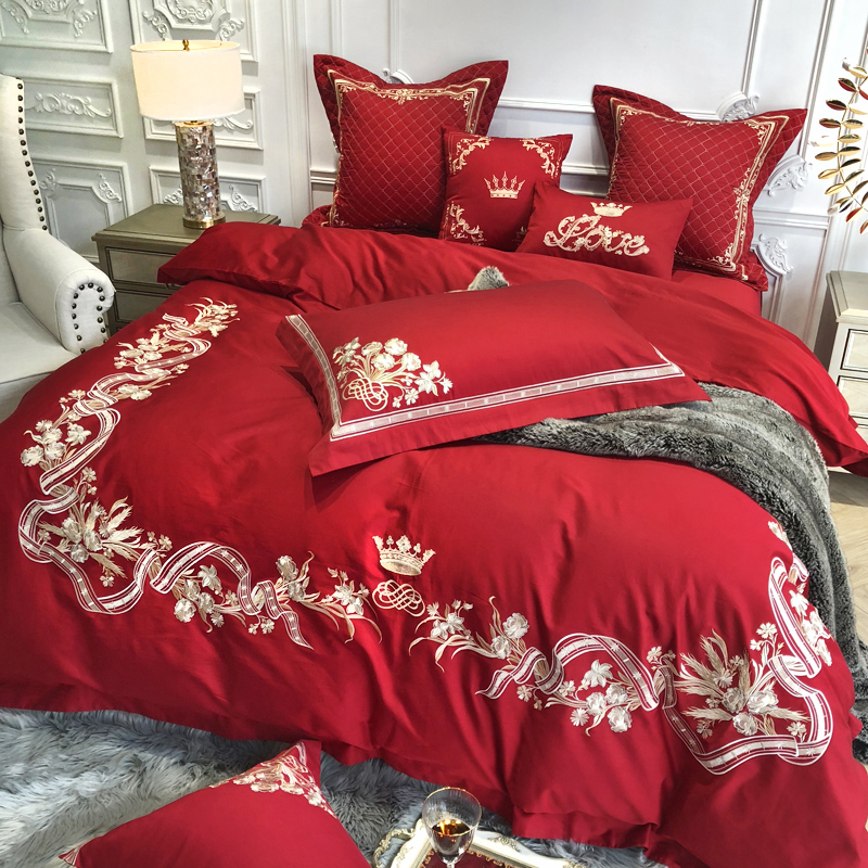 Home & Garden Embroidered 100s Egyptian Cotton Luxury Royal Wedding Bedding Sets Queen King Red Duvet Cover Bed Sheet Set Pillowcase 4/6pcs Cleaning The Oral Cavity.