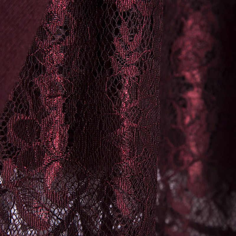 Женское трикотажное платье-свитер с воротником-хомутом и кружевной юбкой