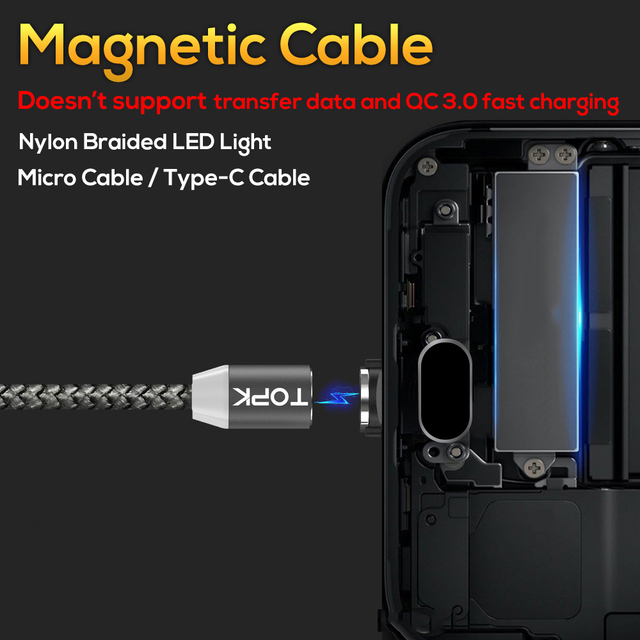 TOPK R-Line1 LED Magnetic USB Cable for iPhone Xs Max 8 7 6 & USB Type C Cable & Micro USB Cable for Samsung Xiaomi Huawei USB C
