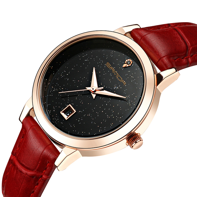 2018 Real New Sanda Crystal Glass Lovers Watches Quartz Watch Waterproof Leather