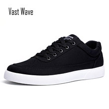 VastWave Jeans Canvas Autumn Men's Casual Shoes Lace Up Flats Male Vulcanize Shoes Men Elastic Band Man sneakers shoes woman(China)