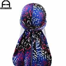 Fashion Mens Silky Print Durags Turban Hat Headwear Bandanas Men Spandex Durag Hair Accessories Unisex Waves Caps Do