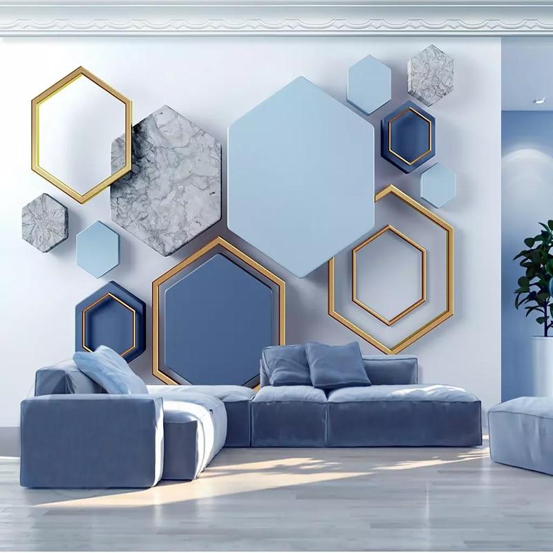 Custom 3d Modern Minimalist Geometric Marble Mosaic Wall Cloth Wallpaper Mural Living Room Wall Decoration Home Papel De Parede